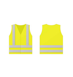 Yellow reflective safety vest for people isolated vector