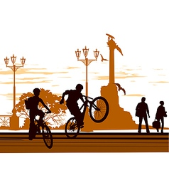 bike stand square vector image