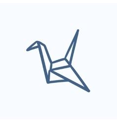 Origami bird sketch icon vector image vector image