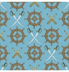 Seamless Pattern Retro Ship Steering Wheels vector image vector image