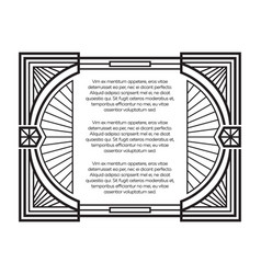 art deco frame template isolated on white vector image vector image