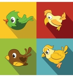 Color birds on background with long shadow vector image