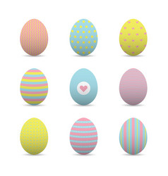 Set of colorful realistic easter eggs vector