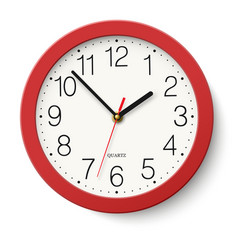Simple classic red round wall clock isolated vector
