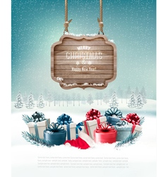 Winter background with gift boxes and a wooden vector image vector image