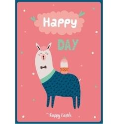 card with funny Lama boy vector image