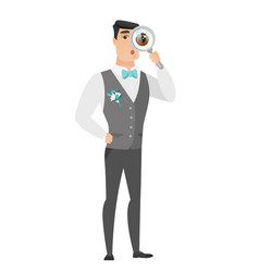 caucasian groom with magnifying glass vector image vector image