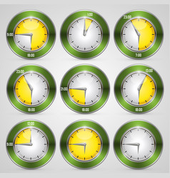 clock with time stamp set vector image vector image