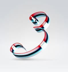 Fantasy plastic 3d glowing ribbon typeface vector image