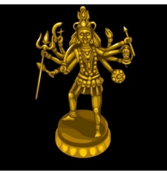 Golden statue of the deity with many hands vector image vector image