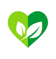 green leaf love organic nature logo vector image vector image