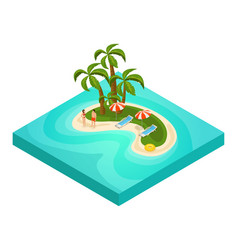 isometric tropical beach vacation concept vector image vector image