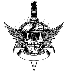 Skull in beret wings and dagger vector