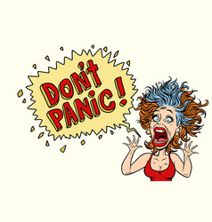 the woman panics and screams in horror vector image vector image