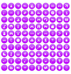 100 toys for kids icons set purple vector