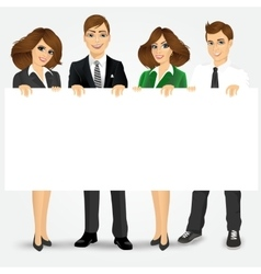 businesspeople holding a blank billboard vector image
