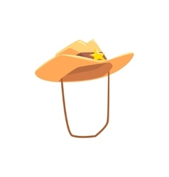 Cowboy hat with attaching string drawing isolated vector