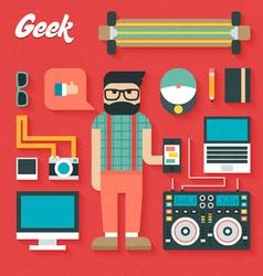 Flat Icons Set of Trendy Geek vector image