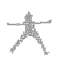 Jumping people silhouette made with words vector