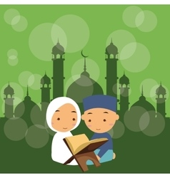 kids boys and girls read holy quran qoran Islam in vector image
