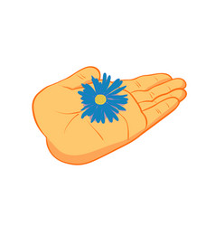 people hand with flower vector image