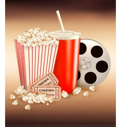 popcorn box and cola and two tickets vector image vector image