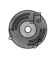 Vinyl old music with notes vector