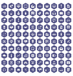 100 web and mobile icons hexagon purple vector image
