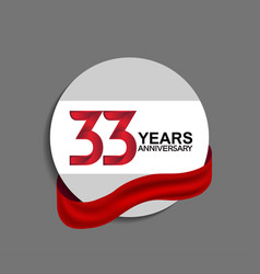 33 years anniversary design in circle red ribbon vector