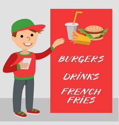 a restaurant employee fast food shows promotional vector image