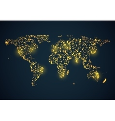 abstract bright glowing map on dark blue vector image