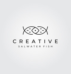 abstract fish logo minimalist line art symbol vector image