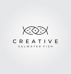 Abstract fish logo minimalist line art symbol vector