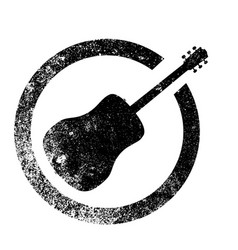 Acoustic guitar ink stamp vector