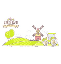 Agribusiness of colorful green farm life wit vector