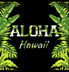 aloha hawaii palm leaves mirror background vector image