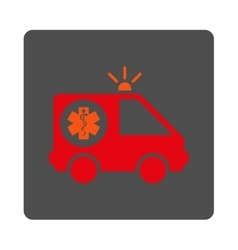 Ambulance Car Rounded Square Button vector image