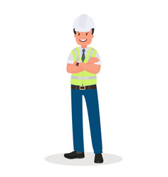 an engineer man wearing a hard hat and a vector image