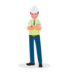 an engineer man wearing a hard hat vector image