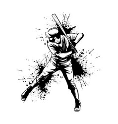 baseball player hitter swinging with bat vector image