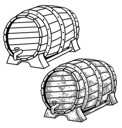 beer barrels in engraving style design element vector image