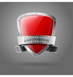 Blank red realistic glossy protection shield with vector image