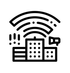 Building with radiowaves thin line icon vector