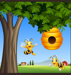 cartoon bees with honey under a tree vector image