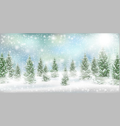 christmas winter landscape pine tree snow vector image