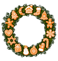 christmas wreath with gingerbread cookies round vector image