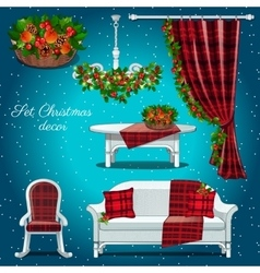 Classic interior of the hall with Christmas decor vector