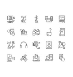 communication services line icons signs vector image