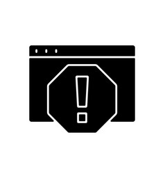 Computer error black glyph icon vector