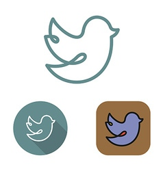 Contour social network bird icon and stickers set vector image